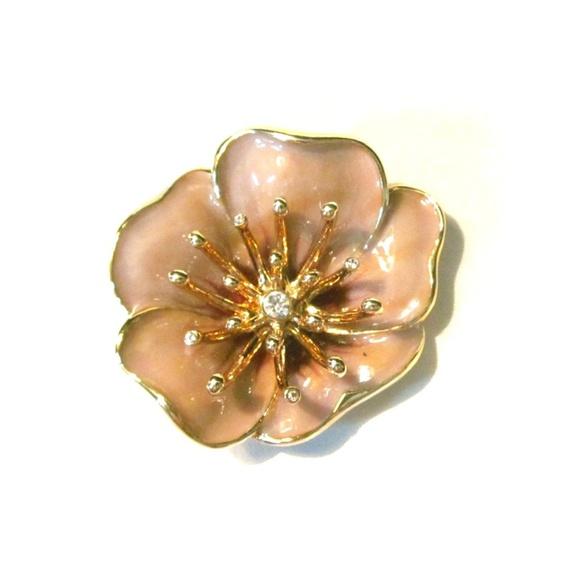 37b373618ed Vintage Monet Enamel Rhinestone Flower Brooch. M_5adc95582ab8c59610b74cd3
